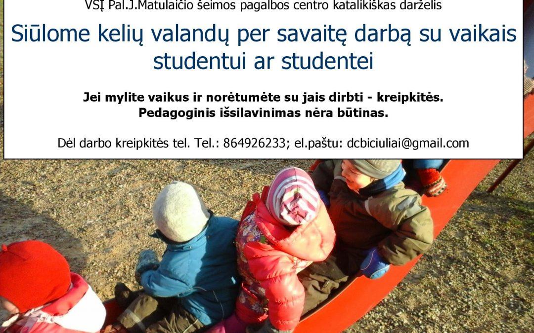 Darbas studentams!!!